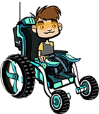 Boy in futuristic wheelchair