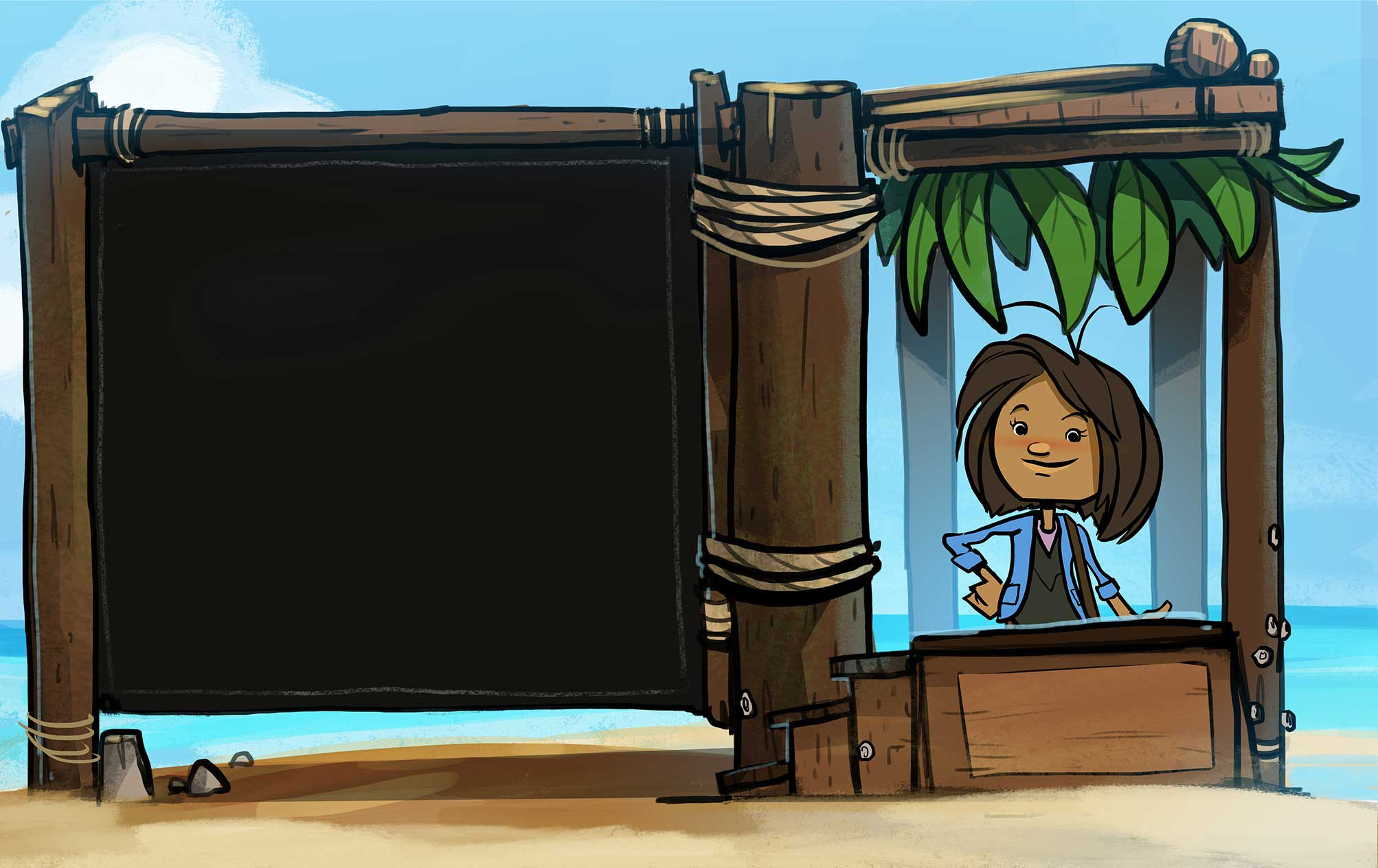 Captain sitting in a booth on the beach ready to tell you about goal setting.