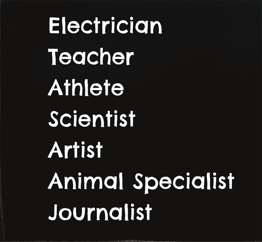 Chalkboard showing list of words: electrician, teacher, athlete, scientist, artist, animal specialist, journalist