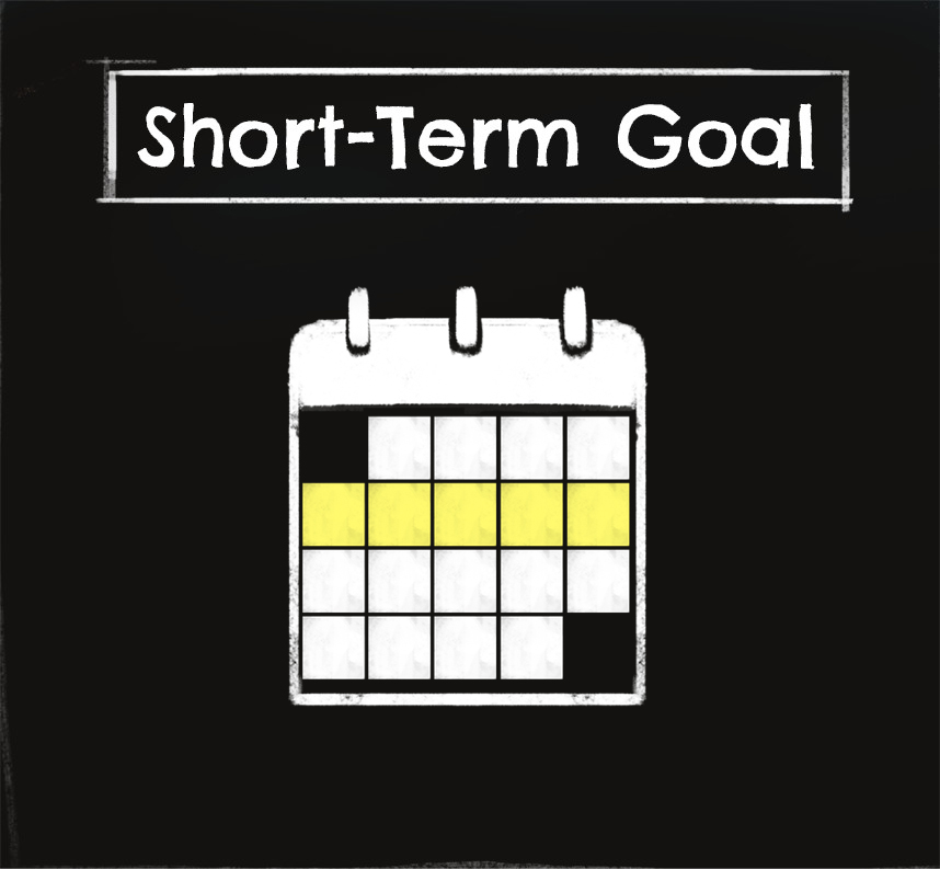 Chalkboard showing words: Short term goal